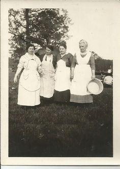 Vintage 2 photo lot  4  ladies in aprons on by vintagepostexchange, $5.00