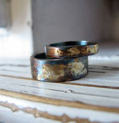 Oxidized Wedding Rings Gold Silver by HotRoxCustomJewelry on Etsy, $380.00