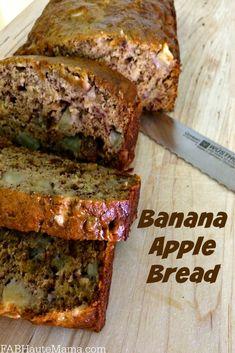Fall Into Fall with this delicious and Easy Banana Apple Bread Recipe. Banana Apple Recipes, Apple Banana Bread, Gluten Free Banana Bread, Apple Deserts, Easy Bread Recipes, Simple Recipes, Crockpot Recipes, Dessert Recipes, Picnic Recipes