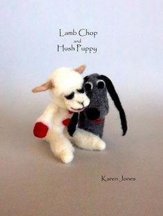 Needle felted finger puppets - Love Lambchop.