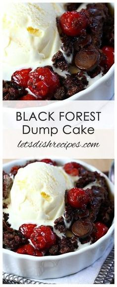 Black Forest Dump Cake Recipe All you need are a few simple ingredients like a chocolate cake mix and some cherry pie filling to make this easy decadent chocolate cherry dessert cake dessert chocolate cherry Chocolate Cake Mixes, Chocolate Recipes, Decadent Chocolate, Chocolate Cherry Dump Cake, Cherry Dump Cakes, Chocolate Cupcakes, Crockpot Cherry Dump Cake, Crockpot Pie, Chocolate Chips