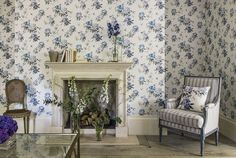 Shop for Wallpaper at Style Library: Rhodera by Sanderson. Pretty birds perch amongst flamboyant rhododendron leaves to create a botanical wallpaper de. Interior Wallpaper, Designer Wallpaper, Painted Rug, Decor, British Design, Buy Wallpaper Online, Decorating Your Home, Wallpaper, Wall Wallpaper
