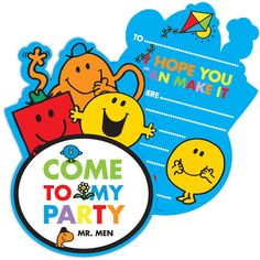 Mr Men Party Invitation Cards £1.99 6pk