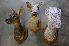 """French artist Julien Salaud wraps acquired taxidermy deer in intricate shells of thread and nails creating these strikingly beautiful geometric webs. The ongoing series is""...sad, creepy and disturbing.  Okay, I added that last part.  Just failing to connect with this as art.  I feel like nature has been defiled, in the ugliest of ways.  My opinion."