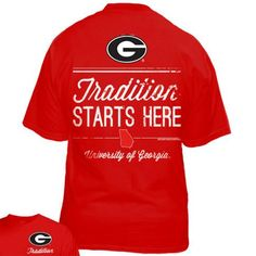 """University of Georgia Red t-shirt with the G logo and the """"Tradition Starts Here"""" graphic on the back and a smaller """"Tradition"""" and G logo on the left chest."""