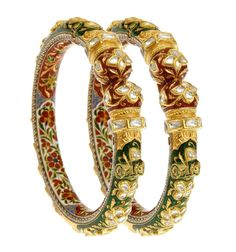 22K Gold Royal Era Bracelet / Bangle Pair With Kundan Meena Work & Real Diamonds #SitaramHanumandas #Bangle