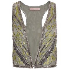 Metallic Chiffon Beaded Waistcoat ($1,895) ❤ liked on Polyvore featuring outerwear, vests, tops, jackets and vest, women, vest waistcoat, chiffon vest, metallic vest, beaded vest and sequin vests