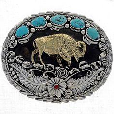 Gold Buffalo Belt Buckle 17437   Alltribes