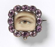Cushion Shaped Eye Miniature Set in a Brooch with Pink Stone Frame © Victoria and Albert Museum, London Victorian Jewelry, Antique Jewelry, Vintage Jewelry, Neo Victorian, Lovers Eyes, Tatty Devine, Miniature Portraits, Miniature Paintings, Mourning Jewelry