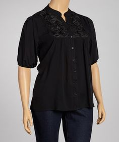 Look what I found on #zulily! Reborn Collection Black Embroidered Button-Up Top - Plus by Reborn Collection #zulilyfinds