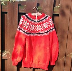 Red Snowflake Ski Sweater Vintage Hand Knit (20.00 USD) by vintagepoetic