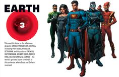 Earth-3This world is home to the villainous, despotic CRIME SYNDICATE OF AMERICA, including their leader, the tyrant ULTRAMAN, and his cohorts OWLMAN, SUPERWOMAN, JOHNNY QUICK, POWER RING, DEATHSTORM and ATOMICA - the world's greatest super-criminals in this universe, where Good and Evil are reversed.