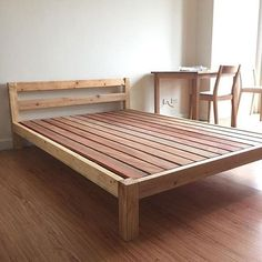 Reposted from Use to be featured! Don't forget to tag your woodworking friends below! Bed Frame Design, Diy Bed Frame, Bed Design, Diy Furniture Building, Pallet Furniture, Furniture Plans, Home Bedroom, Bedroom Decor, Bois Diy