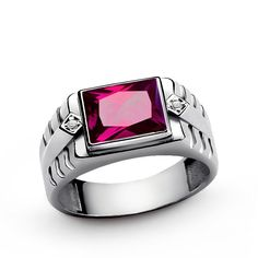 Men's Gemstone Ring in Sterling Silver with Genuine Diamonds and Red Ruby