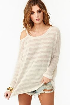 Slashed Stripe Knit for winter over skinny jeans or leggings with brown boots