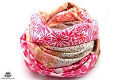 Rundschal Loopschal Loop rosa pink weiss von #Lieblingsmanufaktur