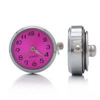 Quartz Watch Face Silver Tone Snap Button DIY Fuchsia 24mm x21.5mm x12mm