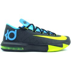 check out a586e 88a57 Nike KD VI Black Volt-Vivid Blue-Drk Grey 599424-010 ( 127) ❤ liked on Polyvore  featuring shoes, sneakers, kd, shoes    socks, gray shoes, nike footwear,  ...