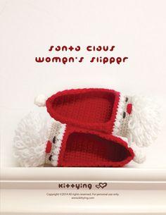 Santa Claus Women's Slipper Crochet PATTERN,Instant PDF Download. Product code:SC05-R-PAT-   This crochet pattern is designed for - US / Canada women's sizes of 5 - 10 - Europe women's sizes of 35 - 42 - UK women's sizes of 2.5 - 7.5