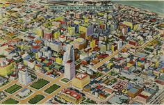 Vintage postcard of the view of  St. Louis City from the air circa 1940s. #StLouis