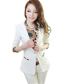 My Wonderful World Women's V-neck One Button Leopard Sleeve Blazer Small White My Wonderful World Blazer Coat Jacket http://www.amazon.com/dp/B016ZY526G/ref=cm_sw_r_pi_dp_cW1kwb1TKNTWN