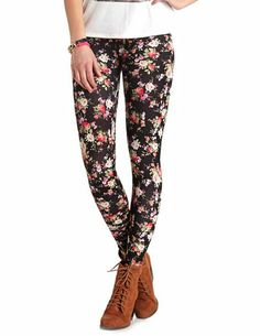 Cotton Floral Printed Leggings: Charlotte Russe