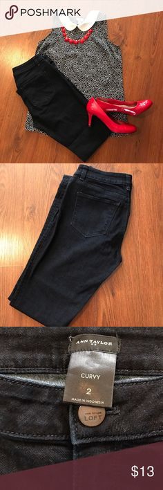 HP!! 🎸❤️🎸Like New Ann Taylor Jeans Curvy Size 2 Dark denim jeans from Ann Taylor. Smoke free home. Like new. Size 2. Curvy fit. Ann Taylor Jeans