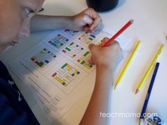 Sneak some learning math into your summer days with some fun math learning color puzzles! Get those kids' brains moving in clever and creative ways with some fun critical thinking skills. These fun math games are great for all ages and I use them as an indoor summer activity on a rainy day! #teachmama #math #mathgame #criticalthinking #learningmath #creativethinking #indooractivity #educationalgame #rainydayactivity #teachingmath #education