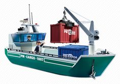 Cargo Ship with Loading Crane - 5253 - PLAYMOBIL® USA