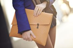 Love the button details n texture of this clutch (http://www.wendyslookbook.com/2012/04/honeycomb-black-silk-stripe-scarf/)