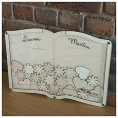 Personalised drop top guest book - Beautiful personalised wedding guest book with drop top tokens included.