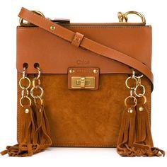 Chloé 'Jane' Shoulder Bag (855.785 CLP) ❤ liked on Polyvore featuring bags, handbags, shoulder bags, brown, brown leather handbags, brown handbags, brown leather purse, genuine leather handbags and genuine leather purse