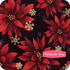 Christmas in Kyoto Holiday Poinsettias and Snowflakes Yardage