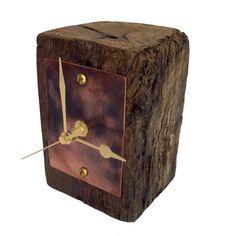 Small Oak Beam Copper Face Mantel Clock