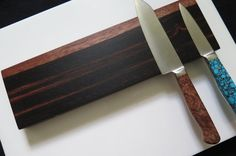 Ebony Macassar 12 magnetic knife rack Solid wood knife by EEKnives