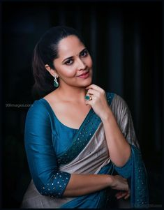 Anasuya Saree Photoshoot Stills - Chai SamoSa Glamour Ladies, Saree Photoshoot, Photoshoot Pics, Sari Blouse Designs, Elegant Saree, Beautiful Girl Image, Beautiful Women, Beautiful People, Indian Beauty Saree