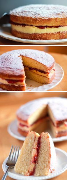 Victoria Sponge Cake - Erren's Kitchen - This simple Victoria Sponge Cake recipe has delicious a raspberry jam and butter cream filling that takes the classic Victoria sponge to a higher level. Would be wonderful for a tea party! Just Desserts, Delicious Desserts, Dessert Recipes, Baking Recipes, Cupcakes, Cupcake Cakes, Poke Cakes, Layer Cakes, Recipe For Victoria Sponge Cake
