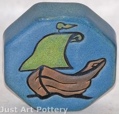 Saturday Evening Girls Pottery Viking Ship Paperweight from Just Art Pottery