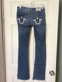 True Religion High Rise Boot Denim Blue Stretch Jeans 24 Inseam 33 Made in USA #TrueReligion #BootCut