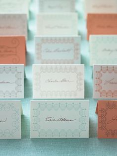 """Free printable place cards via Martha Stewart. Use these during a """"pretend"""" dinner party with your children!"""