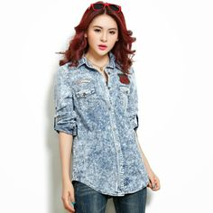2013 New Arrival Fashion Classical Water Wash slim light New Fashion, Korean Fashion, Fashion Women, Coats For Women, Jackets For Women, Women's Jackets, Summer Blouses, Wholesale Clothing, Blouses For Women