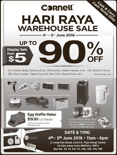 Cornell SG Hari Raya Warehouse Sale 4 to 5 Jun 2016 - Why Not Deals 2