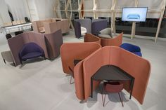 Brunner work lounge cellular at Orgatec 2016 Cologne Trade Fair, Corporate Interiors, Swivel Chair, Banquet, Color Trends, Industrial Design, Divider, Lounge, Colours