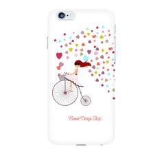Girl on bike iphone 6 case white iphone 6 plus by BannerDesignShop