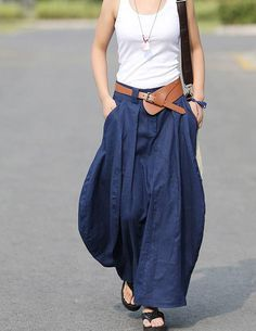 Cool Baggy Maxi Skirt Linen cotton Skirt Day by colorstore2011