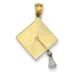 14K Two-Tone 3D Graduation Cap with Moveable Tassel Charm Pendant. 3D Graduation Cap with Moveable Tassel Charm Pendant Crfted From polished 14K Two-Tone. Finish: Polished. Approximate Weight: 1.16 Grams. 14K Two-Tone. Length: 25 Millimeters Including Bale.
