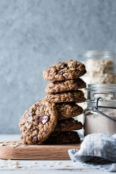 Gluten-Free Oatmeal Teff Chocolate Chip Cookies & Cookie Mix Gift in a Jar – Food Chunky Chocolate Chip Cookies, Chocolate Chip Oatmeal, Cookie Recipes, Dessert Recipes, Dessert Healthy, Picnic Recipes, Picnic Ideas, Picnic Foods, Bojon Gourmet