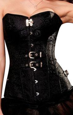 sexy Vintage Corsage Korsett schwarz Bustier Corsagentop Gothic Steampunk Gr.XL R-Dessous