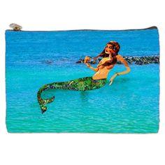 Mermaid In The Lagoon Cosmetic Bag Blue cosmetic by NirvanaRoad
