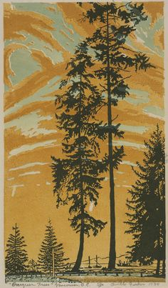 Love the sky. Orville Fisher: Evergreen Trees - Canadian Paintings in the Thirties.